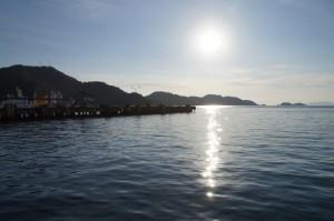 八幡浜港の夕陽